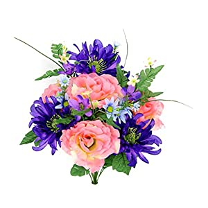Admired By Nature 14 Stems Artificial Rose, Mum Flower with Greenery Foliage Mixed Bush for Home, Wedding, Restaurant & Office Decoration Arrangement, Pink/Purple/Blue, 2 Pieces
