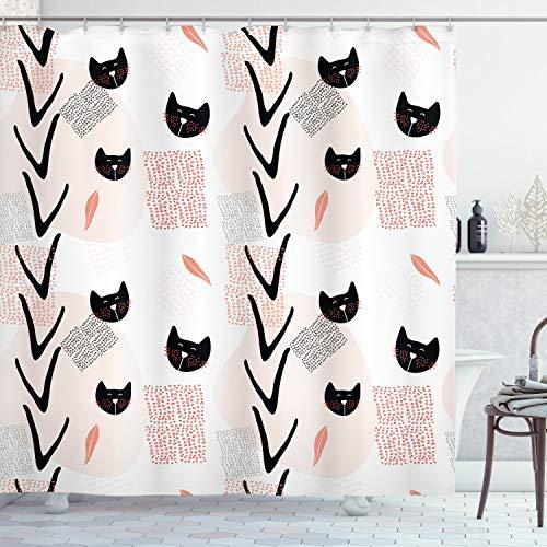 ABAKUHAUS Duschvorhang, Nette Katzen Gesichter Punktierten Muster Kätzchen Tier Kinderkinderthema Digital Creme Druck, Blickdicht aus Stoff inkl. 12 Ringen Umweltfre&lich Waschbar, 175 X 200 cm