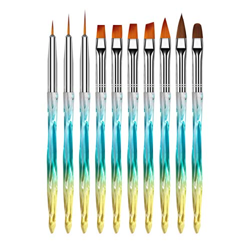 MWOOT Nagel Pinsel (Set mit 10), DIY Nagelkunst Pinselset für Gelnägel Nageldesign, Nagelpinselset für Anfänger - Blau