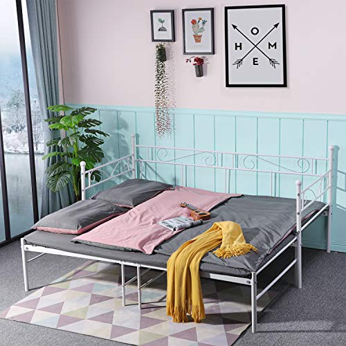 IPOTIUS Daybed with Trundle Sofabed Metal Bed Frame Bedstead for Living Room Bedroom Children Room Guest Room,Fits for 3ft 90x190cm Mattress,Beige