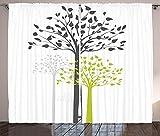 MZCYL Cortinas Opacas Ruido Cortina Ojales Persianas Sol Lápiz Plisado Cortina Cortinas Salon Opacas 229x183cm Cortina de árbol, tema de la madre naturaleza con ecología de patrón de hojas y árboles f