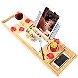 Bamboo Bathtub Tray Bath Table Adjustable Luxury Caddy Tray with Extending Sides, Cellphone,Book,Tray