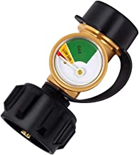 GASLAND Propane Adapter, Propane Tank Gauge, QCC1 Type1 Propane Adapter with Gauge, Grill Valve Connector for Propane Cylinder, RV Camper, BBQ Gas Grill, Heater