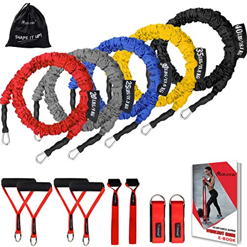 Coolrunner 14 PCS Resistance Bands Set, Exercise Tubes, 20lbs to 40lbs Workout Bands with Handles...