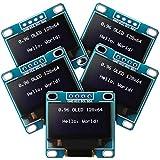 5 Piezas Módulos OLED de 0,96 Pulgadas 12864 128x64 SSD1306 Controlador IIC I2C Serial Tablero de Exhibición Auto-Luminoso Compatible con Arduino Raspberry PI (Blanco)