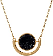 Cate & Chloe Margaret Protected Gold Statement Necklace, Unique Trendy Marble Circle Gold Necklaces for Women, Fashion Statement Necklace for Girls, Marble Necklace