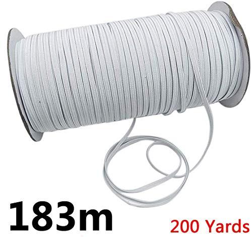 Gummiband 5mm 3mm 183Meter Schnur Elastizität für Stricknäharbeiten DIY, für Tagesdecke, Manschette, Kleidung Weiß, 3mm