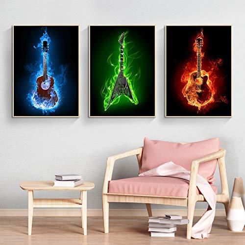 Instrumentos musicales modernos, cartel de guitarra eléctrica ardiente, lienzo, arte de pared,...
