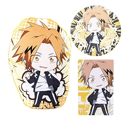 cluis My Hero Academia Bag Geschenkset - 1 MHA-Plüschkissen, 2 Blattaufkleber, 1 Anstecknadel für Anime-MHA-Fans(Kaminari Denki)
