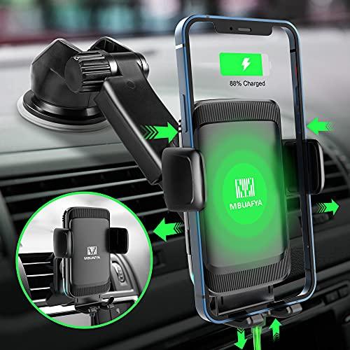 MBUAFYA Soporte de teléfono móvil para coche, 2 en 1 Qi, 15 W, carga rápida, inalámbrico, con función de carga, cargador de coche, soporte para teléfono móvil para iPhone, Samsung, Huawei, LG, etc.
