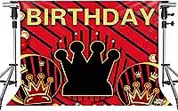 パーティー写真のHD誕生日の背景レッドゴールドのテーマクラウン誕生日のテーマの背景誕生日パーティーのドロップドロップ装飾小道具7x5ftDSMT089