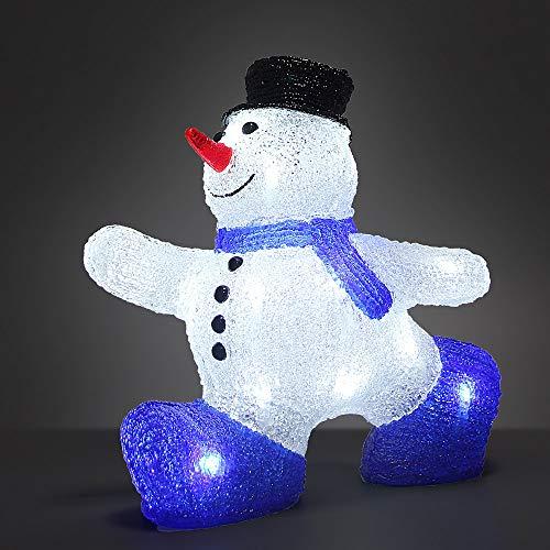Deuba Muñeco de nieve M de LED adorno de Navidad de acrilico figura decorativa iluminación decoración interior exterior