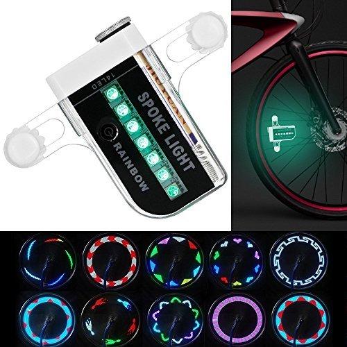 KEKU Luminoso Bike Wheel Lights - Impermeabile 14 LED ha parlato la Luce per la Guida Notturna con 30 Diversi Cambi di Pattern
