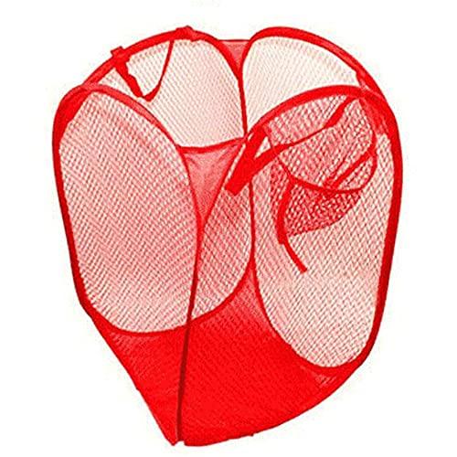 JINGXING Gran Canasta de lavandería Almacenamiento Ligero Nylon Malla Plegable Bolsa de Ropa Sucia(30×30×53cm,Red)