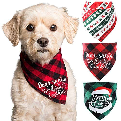 KLL Dog Bandana- 3PCS Christmas Classic Buffalo Plaid Pets Scarf Triangle Bibs Kerchief Set Pet Costume Accessories Decoration for Small Medium Large Dogs Cats Pets