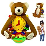 Buckle Toy Busy Board - Toddler Backpack & Stuffed Animal Learning Activity – Develops Fine Motor & Basic Life Skills – Soft Plush Travel Toy - Billy Bear