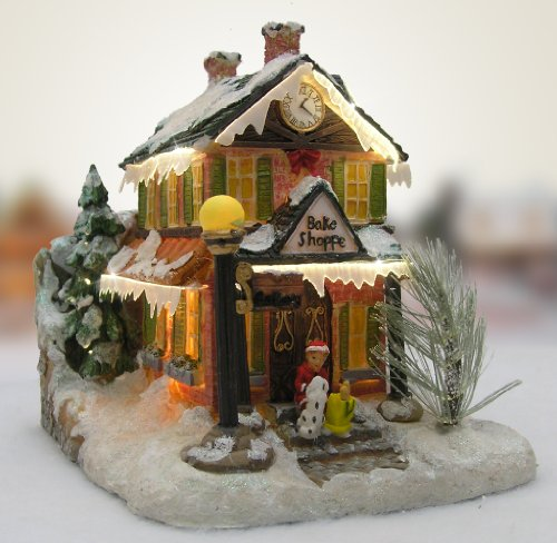 BANBERRY DESIGNS Christmas Snow Village Bakery Fiber Optic LED Collectible House