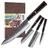 KONOLL 4pcs in one kitchen knife set 3 layer 9CR18MOV clad steel...