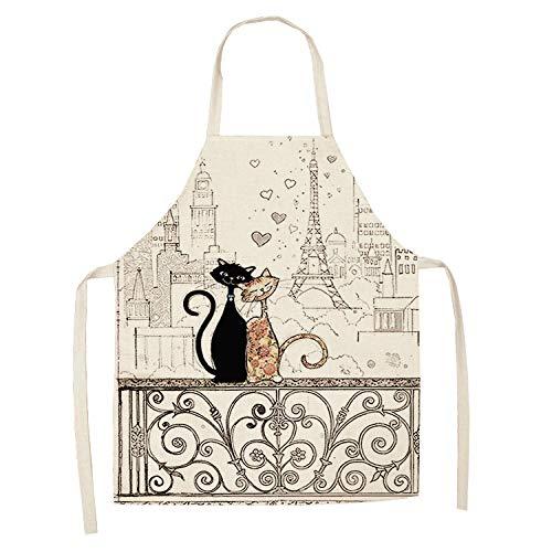 LIUKLAI 1 lindo delantal de cocina con patrón de gato para mujer, babero de lino de algodón, limpieza del hogar, delantal de cocina para el hogar-20_47x38cm