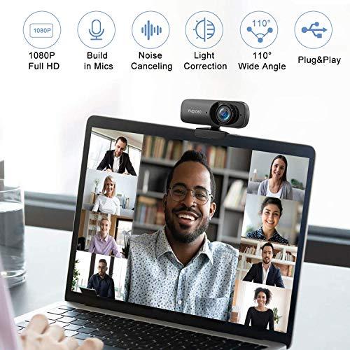 Kdely Webcam mit Mikrofon HD 1080P USB 2.0 Plug & Play PC Laptop Desktop Webkamera mit Automatischer Lichtkorrektur für Windows/Mac OS X/Skype/Facetime/Facebook/Zoom/YouTube/Twitch