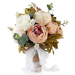 Aonewoe Wedding Bouquet for Bride Realistic Silk Artificial Flowers Handmade Vintage Bouquet for Beach Wedding Ceremony(1Pcs)