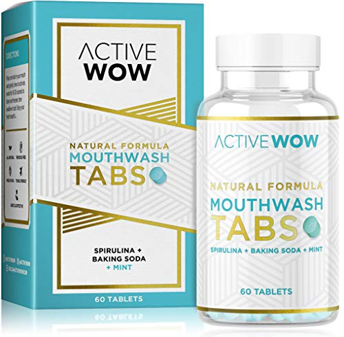 Mouthwash Tabs with Baking Soda, Mint & Spirulina - Natural Chewable Breath Freshening Tablets - Active Wow
