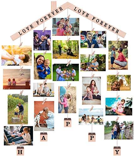 EASTERNSTAR Cornice portafoto per Chalet da Appendere con Clip da Parete per Foto Fai da Te, Collage con Catene e 28 Clip in Legno