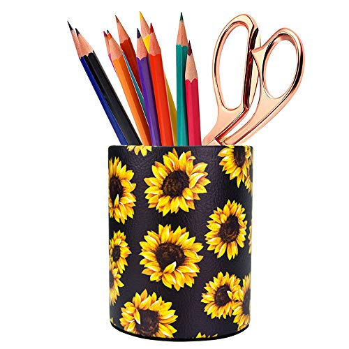 HEYGOO Sunflower Pen Holder, Pencil Holder Desk Organizer for Women Girls, Floral Makeup Brush Holder, Ideal Gift for Office, Classroom, Home(blackSunflower)