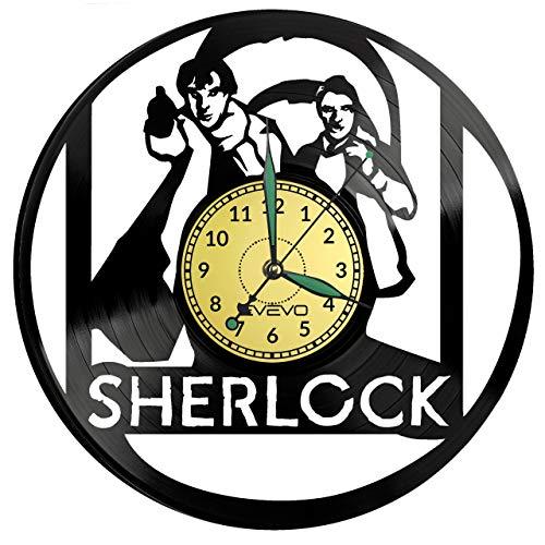 Sherlock Watson Wanduhr Uhr Vinyl Schallplatte Retro-Uhr groß Uhren Style Raum Home Dekorationen Tolles Geschenk für Freund Man Vinyl Record Kovides Vinyl Home Decor Raum, Inspirierende Wand