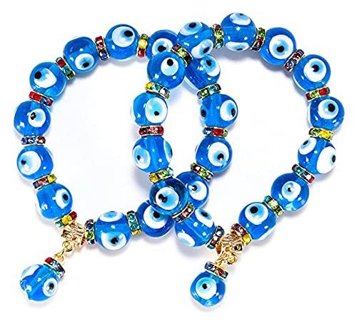 X/L 2 Piezas, Pulseras con Encanto del Mal de Ojo Azul, Hamsa Stretch Bracelet Hand of Fatima Turkish Lucky Bracelet for Women Men for Protection and Blessing (Color : 01)