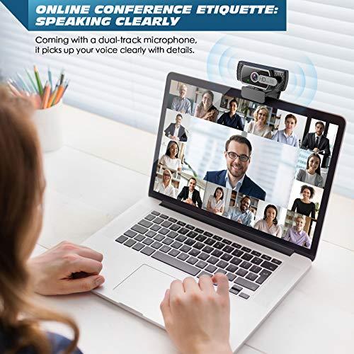 EYONMÉ Webcam mit Mikrofon,1080P Kamera mit Webcam Abdeckung,USB 2.0 Plug&Play, für Desktop und Laptop Video Konferenzen,Online-Unterricht und Live-Streaming,Kompatibel mit Windows,Linux und MacOS