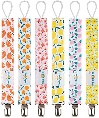 Babygoal Pacifier Clips for Girls 6 Pack Pacifier Holder Fits Most Pacifier Styles Teething product image