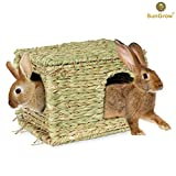 SunGrow Grass House, 11.8-inches by 7.8-inches by 9-inches, Folding Woven Hut for Laying or Sleeping, Edible Chew Home, Multi-Utility Toy for Small Animals