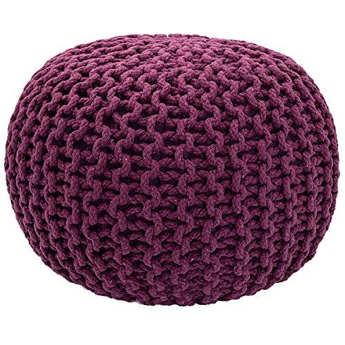 casamia Pouf Ø 55 cm Strickhocker Sitzpouf Sitzpuff Bodenkissen Grobstrick-Optik extrahoch Höhe 37 cm Farbe violett