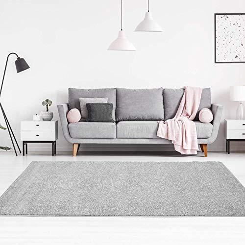 carpet city Teppich Einfarbig Uni Flachfor Soft & Shiny in Grau/Silber für Wohnzimmer; Größe: 120x160 cm