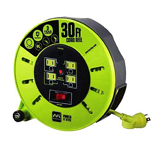 Masterplug CMA301116G4SL-US Cord Storage Reel, 30', Lime green/Assorted Colours