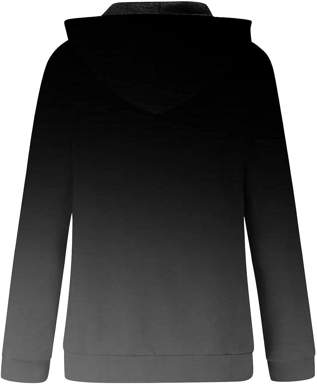 UOCUFY Hoodies for Women, Womens Color Block Sweatshirt Long Sleeve Zip Up Casual Hoodie Lightweight Drawstring Jacket