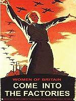 インチのブリキの看板が工場にやってくるイギリスの女性ヴィンテージ鉄の絵の金属板ノベルティ装飾クラブカフェバー