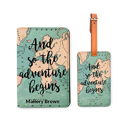 Personalized RFID Passport Holder Luggage Tag Set - And So The Adventure