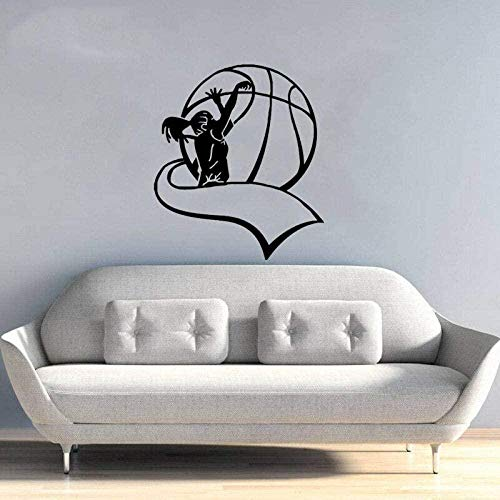 Pegatinas de pared de voleibol para sala de estar, pegatinas de pared de PVC para niñas, decoración de dormitorio, sala de estar, 47,5 cm * 55 cm