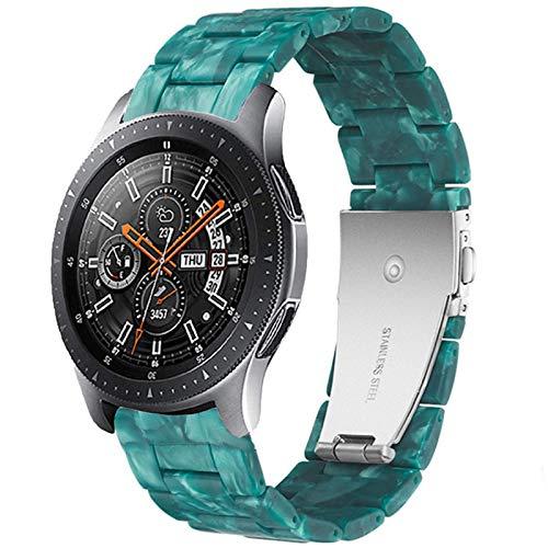 Miimall - Correa de reloj para Samsung Galaxy Watch Active 2, resina plegada, cierre de metal, enlaces clásicos, banda de repuesto de 20 mm, para Galaxy Watch Active 2, color verde esmeralda