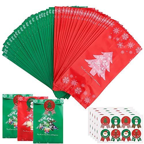 Sacchetti di caramelle di biscotti di Natale 100 pezzi, sacchetto di plastica per feste di Natale Sacchetto di ossequio di caramelle Confezione regalo per snack per pranzi di cibo Dolci di pane