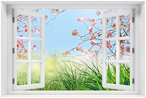 Wallario selbstklebendes Poster - Kirschblütenzweige und grüne Wiese- Frühling in Premiumqualität, Größe: 61 x 91,5 cm (Maxiposter)