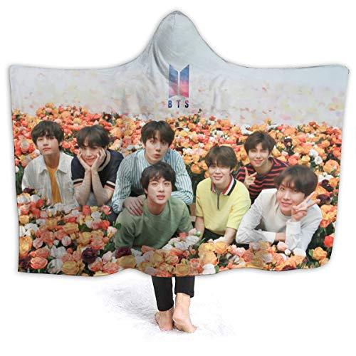 "Kpop Bts Bangtan Boys Hooded Blanket Throw 3d Printing Poster Blanket For All Seasons Micro Fleece Blanket Lightweight Warm Wearable Blanket Cape Cloak Hoodie For Women And Men 50""x40"" 60""x50"" 80""x60"""