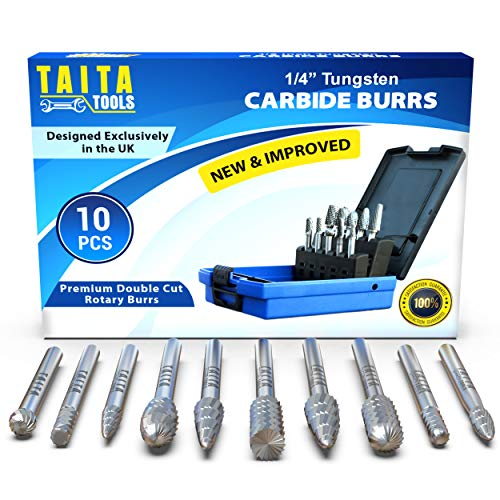 """10PC Carbide Burr 1/4"""" Shank,Tungsten Double Cut Rotary Die Grinder Bits - Cutting Burrs For Fordom, Dewalt, Milwaukee And Die Grinder Accessories - Wood Carving Metal Working & Sturdy Storage Case"""