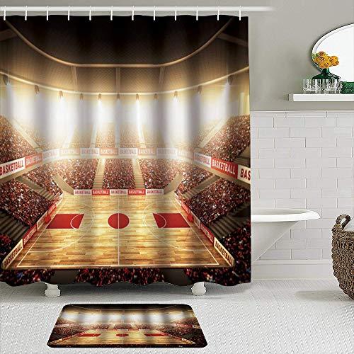 MIFSOIAVV Juego de Cortinas de Ducha de 2 Piezas con alfombras Antideslizantes Estampado artístico Campo de Baloncesto