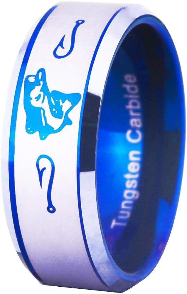 FREE Custom Engraving Blue Tungsten Wedding Bands Bass Ring Fishing Ring Fish Hooks Ring Hunting Ring
