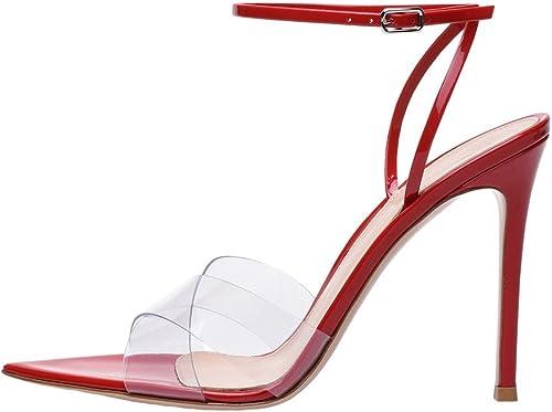 SQY SQY Femmes PVC Pointu Transparent Manuel Talon Haut Pompe Robe Sandales, rouge, 39  prendre jusqu'à 70% de réduction