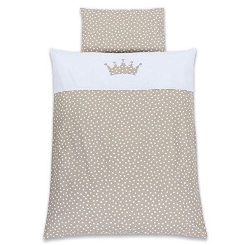 Babybay Parure de lit pour enfant Motif couronne Blanc