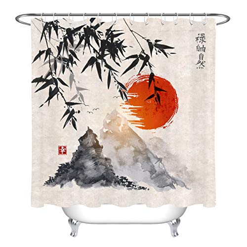 LB Japanese Bamboo Trees Red Sun and Mountains Shower Curtain Watercolor Asian Traditional Ink Painting Shower Curtain Set for Bathroom,70x70 Inch Waterproof Polyester Fabric with Hooks
